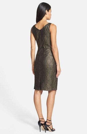 Donna Ricco Metallic Lace Sheath Dress