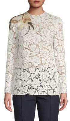 Valentino Long-Sleeve Floral Lace Top