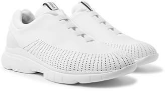 Ermenegildo Zegna Suede-Trimmed Leather and TECHMERINO Slip-On Sneakers - White