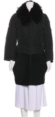 Moncler Fur-Trimmed Knee-Length Coat