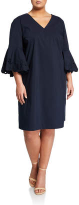 Lafayette 148 New York Holly Embroidered-Sleeve Sheath Dress Plus Size