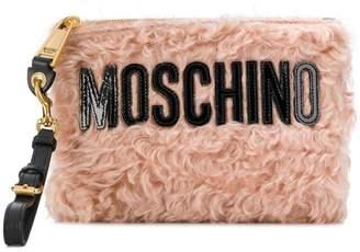 Moschino logo envelope clutch