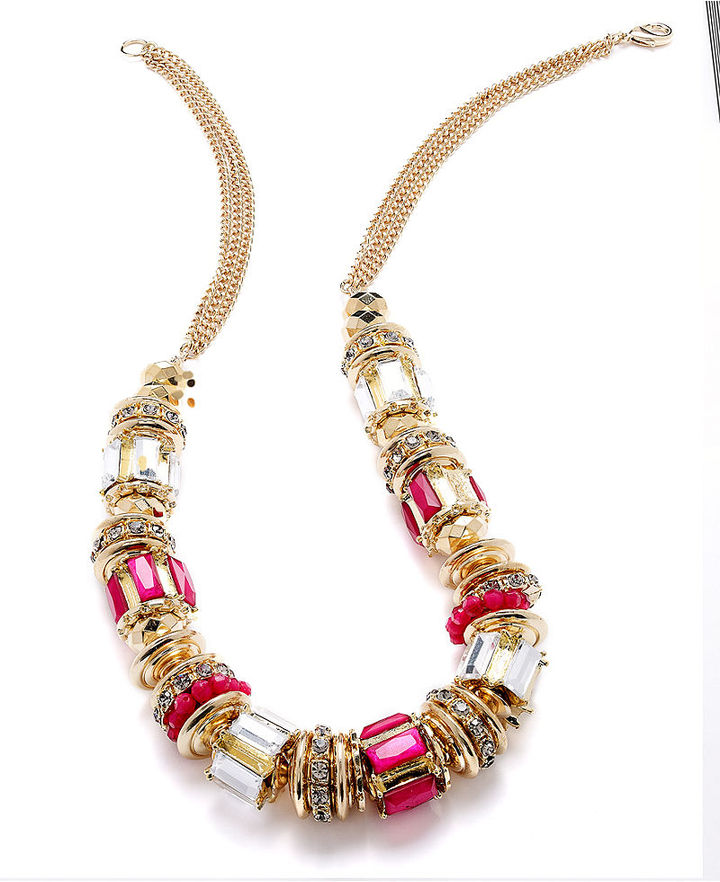 INC International Concepts Necklace, Gold-Tone Pink Crystal Cylinder Bead Necklace
