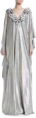 Badgley Mischka Floral-Embroidered V-Neck Metallic Caftan Evening Gown