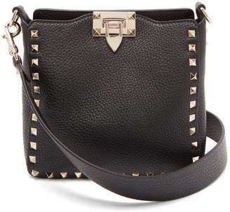 Valentino Rockstud Leather Mini Hobo Bag - Womens - Black