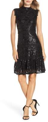 Julia Jordan Sequin Lace Ruffle Hem Dress
