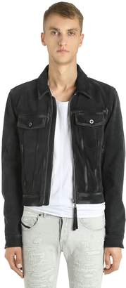 Diesel Black Gold Suede Biker Jacket W/ Coated Details