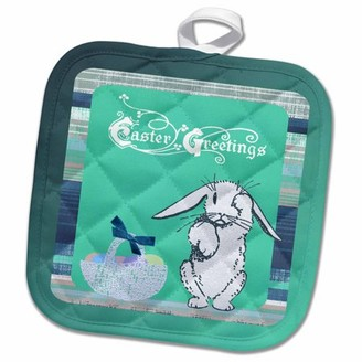 3dRose Tired Easter Bunny Rabbit with Basket of Eggs, Green - Pot Holder, 8 by 8-inch