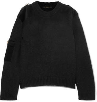 Mother of Pearl Atlas Embellished Velvet-trimmed Knitted Sweater - Black