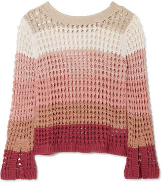 See by Chloe Striped Crocheted Cotton-blend Sweater - Beige