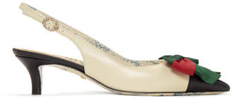 Gucci White and Black Sackville Slingback Heels