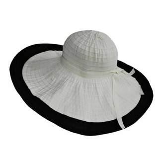 """Luxury Divas Two-Tone 8"""" Wide Brim Floppy Sun Hat"""