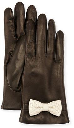 Portolano Leather Bow-Cuff Gloves, Black/White $130 thestylecure.com