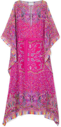 Etro Chubasco Asymmetric Printed Silk-chiffon Dress - Magenta