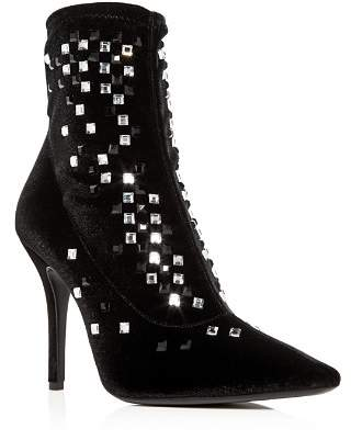 Giuseppe Zanotti Women's Crystal Studded Velvet Pointed Toe Booties