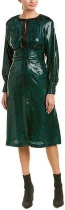 Diane von Furstenberg Keyhole Silk-Blend A-Line Dress