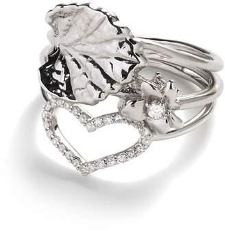 Jordan Askill Leaf, Violet and Heart Stacking Ring