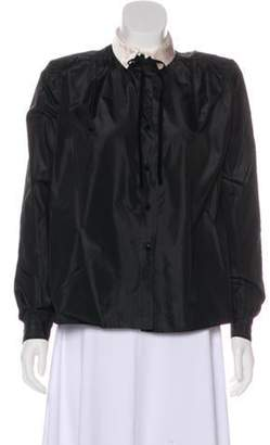 Valentino Long Sleeve Button-Up Top Black Long Sleeve Button-Up Top