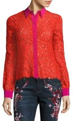 Roberto Cavalli Floral Lace Silk Blouse