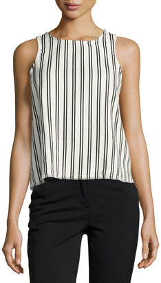 Lucca Couture Striped Top with Lace-Up Back, White/Black $65 thestylecure.com