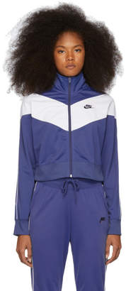 Nike Navy and White Cropped Colorblocked Track Jacket