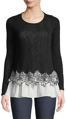 Couture Casual Lace-Hem Twofer Sweater