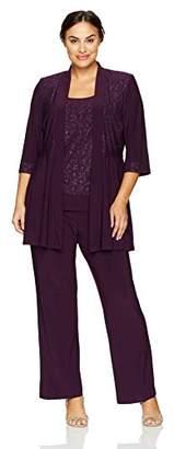 R & M Richards R&M Richards Women's Plus Size Two Piece Glitter and Lace Pant Set Large