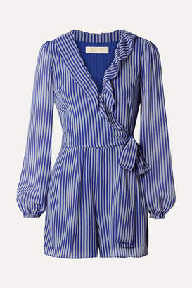 MICHAEL Michael Kors Wrap-effect Ruffled Striped Georgette Playsuit - Blue