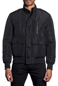 Semi-Fitted Stand Collar Military Jacket Black