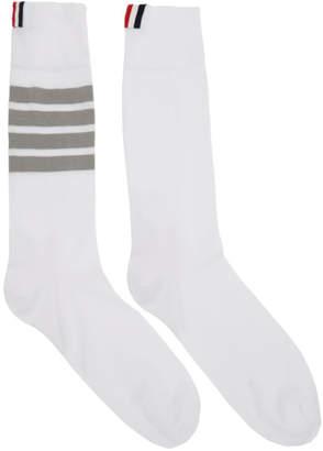 Thom Browne White Lightweight Mid-Calf Socks