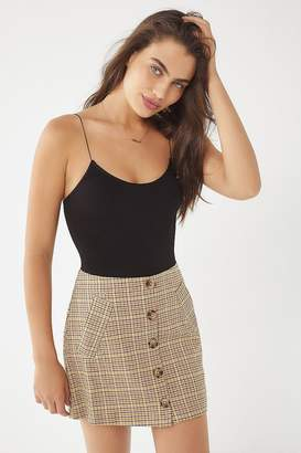 Urban Outfitters Plaid Button-Front Mini Skirt