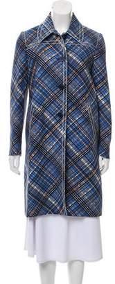 Prada Plaid Silk-Wool Coat w/ Tags