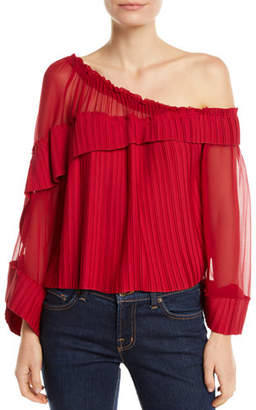 Ramy Brook Aurora One-Shoulder Pleated Long-Sleeve Top