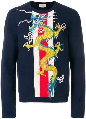 Gucci Web intarsia sweater with dragon appliqué