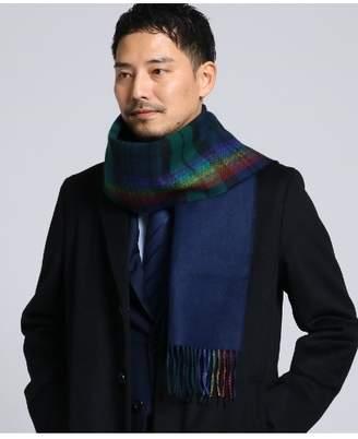 Takeo Kikuchi (タケオ キクチ) - タケオキクチ チェック切り替えマフラー Fabric by BEGG[ メンズ マフラー ベグ チェック 無地 ]