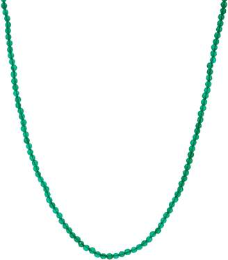 """Jai JAI Sterling Silver 18"""" Green Agate Bead Necklace"""