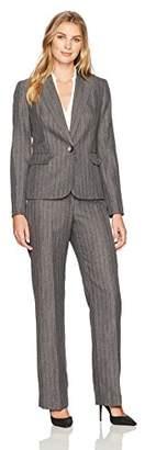 Le Suit Women's Herringbone Stripe 1 Button Notch Lapel Pant