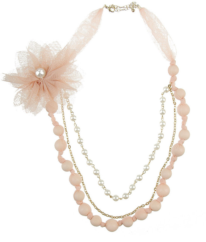 Mesh Flower Pearl Necklace