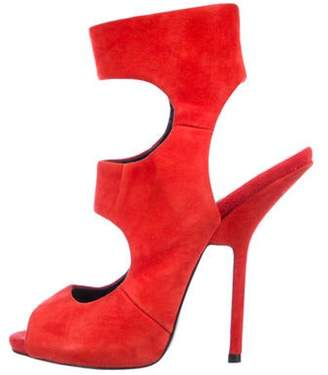 Giuseppe Zanotti Suede Cage Sandals Red Suede Cage Sandals