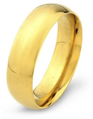 West Coast Jewelry Gold Plated Stainless Steel Polished Traditional Wedding Ring (6mm)