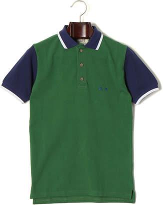 Project E カラーブロックデザイン 半袖ポロシャツ グリーン/ネイビー xs