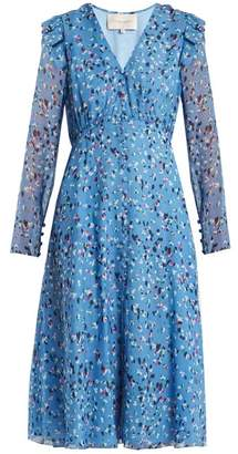 Carolina Herrera Abstract Floral Print V Neck Silk Crepe Dress - Womens - Blue Print