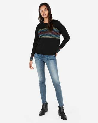 Express Petite Rainbow Stripe Crew Neck Sweater