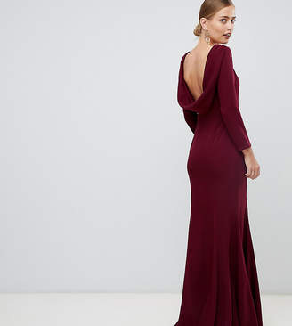 Yaura cowl back maxi dress with fishtail in maroon