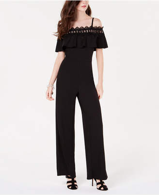 BCX Juniors' Ruffled Cold-Shoulder Jumpsuit