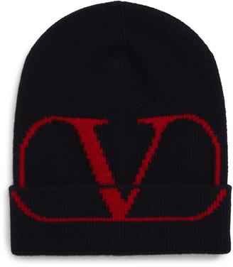 Valentino V-Logo Wool & Cashmere Knit Cap