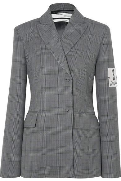 Galles Appliquéd Checked Woven Blazer - Gray