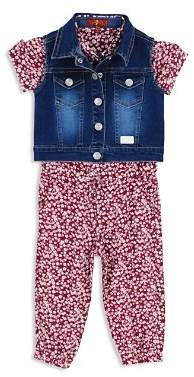 7 For All Mankind Girls' Denim Vest & Floral Romper Set - Baby