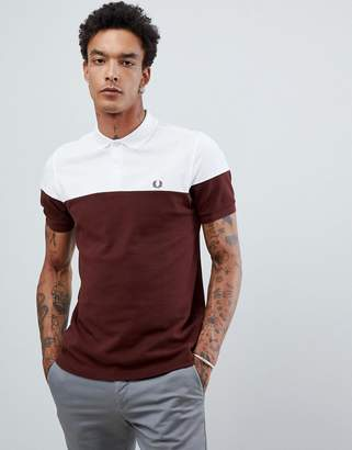 Fred Perry paneled pique polo in white/burgundy