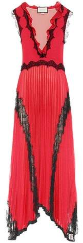 Gucci Pleated floor-length dress with lace